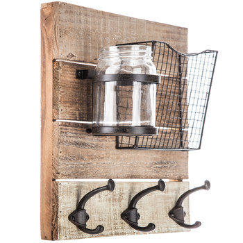 Wood Wall Organizer With Mason Jar